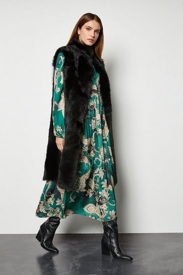 Black Sheepskin Reversible Long Gilet