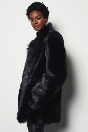Womens Black Sheepskin Reversible Coat