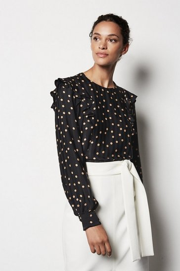Black Scattered Dot On Stripe Top