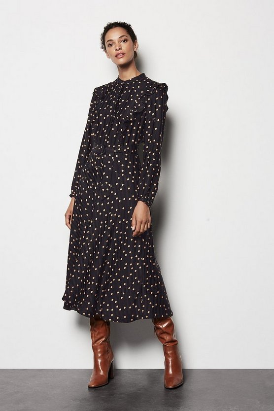 Womens Multi Scattered Dot On Stripe Dress