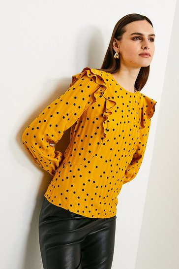 Womens Mustard Scattered Dot On Stripe Top