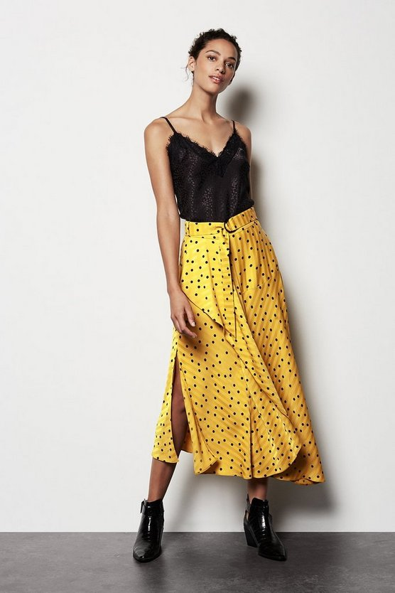 Mustard Scattered Dot On Stripe Skirt