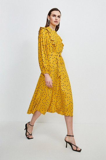 Womens Mustard Scattered Dot On Stripe Dress