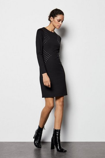 Womens Black Long Sleeve Stud Dress