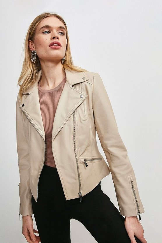 Cream Leather Signature Biker Jacket