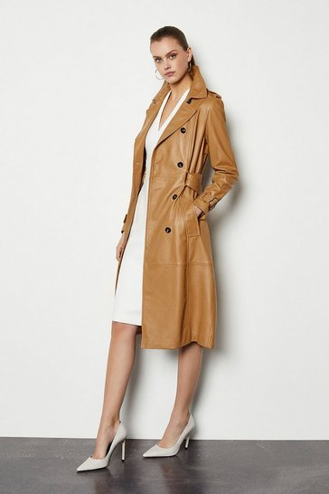 Womens Tan Leather Trench Coat