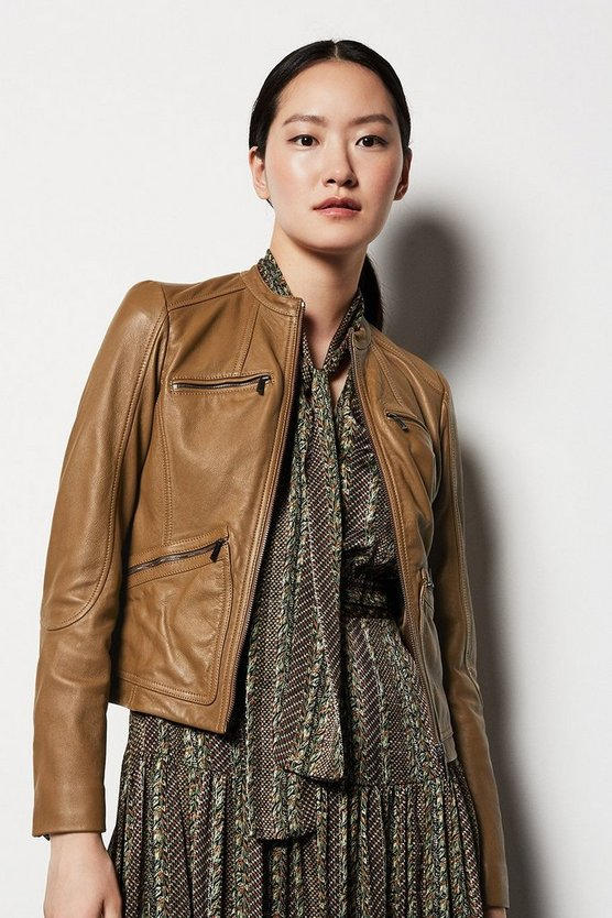 Womens Brown Collarless Motorcycle Jacket
