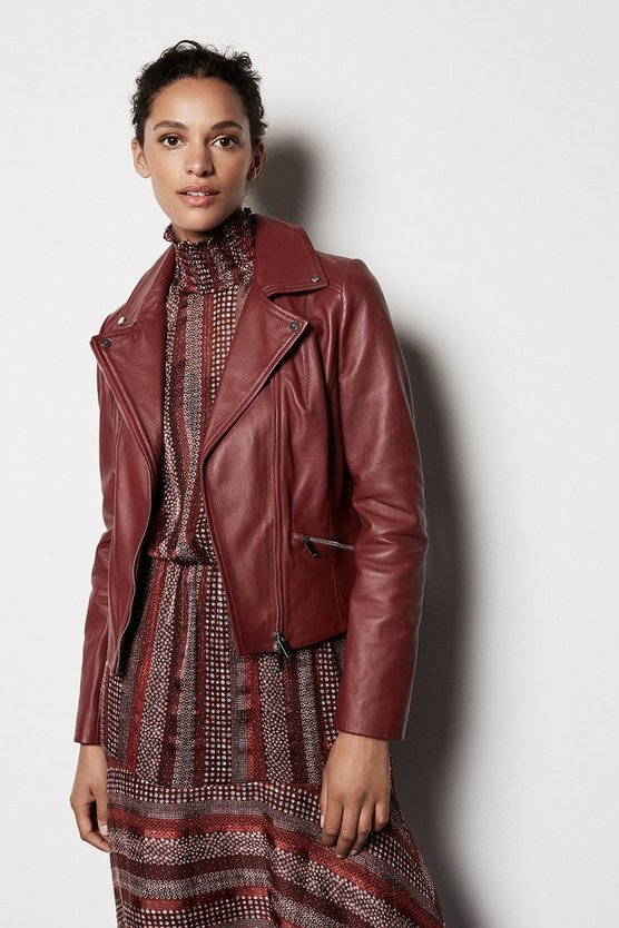 Dark red Leather Biker Jacket