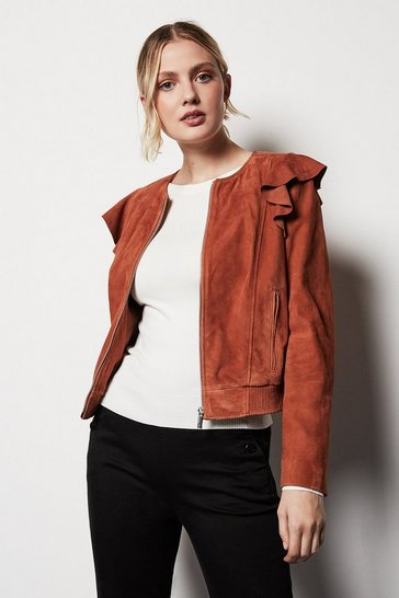 Pink Frill Front Leather Bomber Jacket