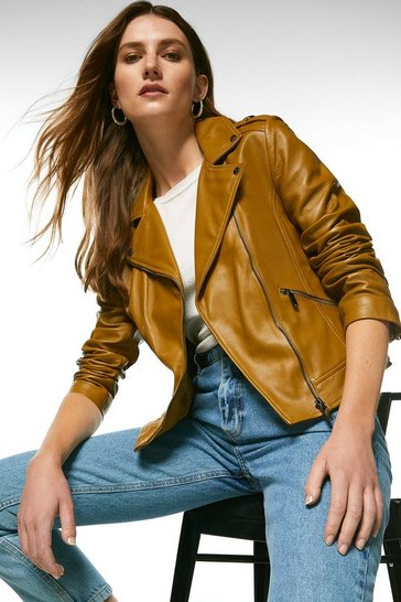 Olive Leather Signature Biker Jacket