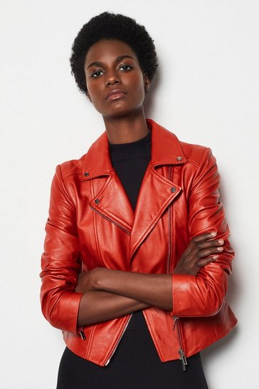 Womens Red Leather Biker Jacket