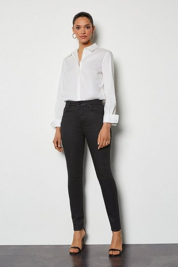 Womens Coated Black Jean