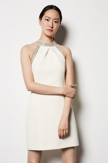 Womens Ivory Chain Detail Dress