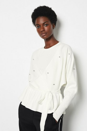 Womens Ivory Diamonte Detail Knitted Jumper