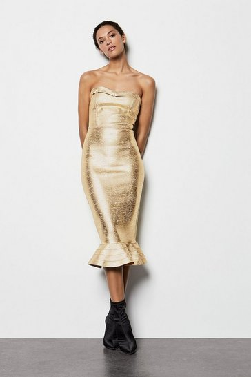 Womens Metallic Gold Bandeau Midi Dress