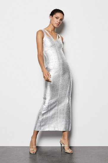 Womens Metallic Silver Maxi Dress