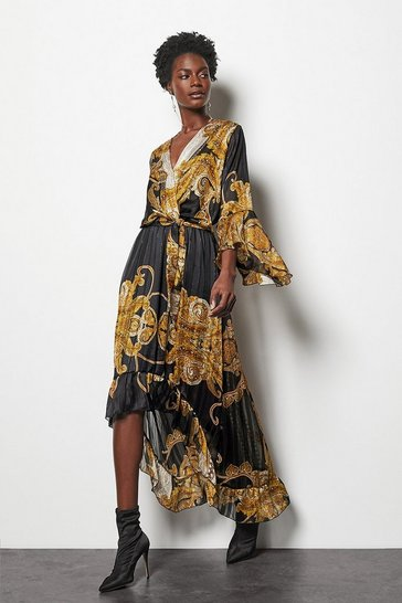 Womens Black Chain Print Ruffle Midi Dress