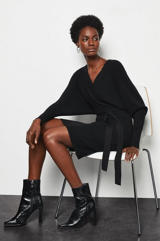 Black Knitted Batwing Midi Dress