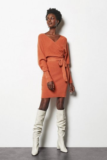 Womens Rust Knitted Batwing Midi Dress