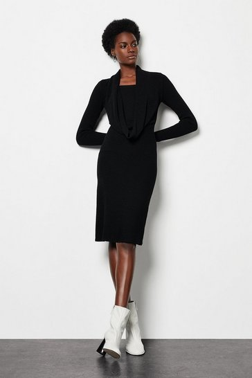 Black Shawl Neck Knitted Rib Midi Dress