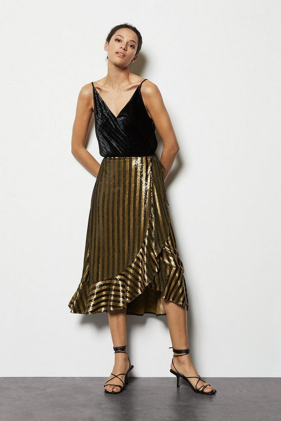 Gold Stripe Sequin Wrap Skirt