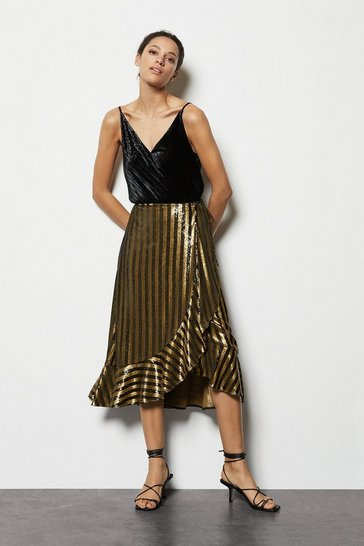 Womens Gold Stripe Sequin Wrap Skirt