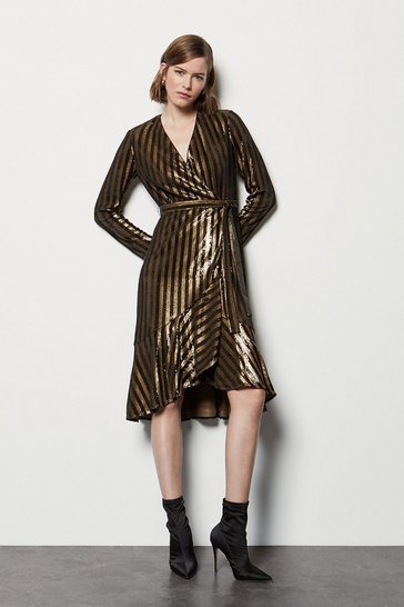 Womens Bronze Stripe Sequin Long Sleeve Wrap Dress
