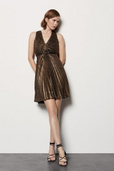 Womens Bronze Metallic Pleated Short Sleeve Dress