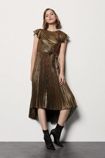 Womens Bronze Metallic Pleated V Back Dress