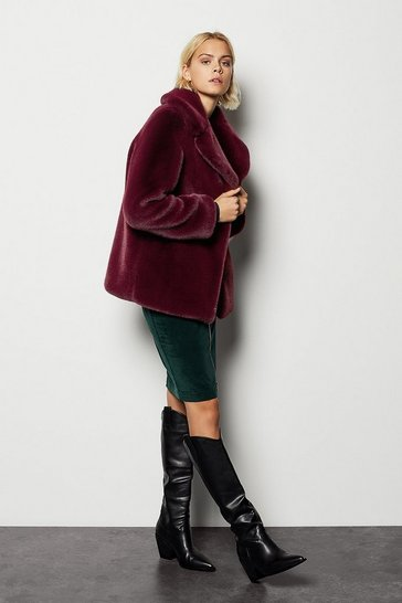 Womens Burgundy Faux Fur Jacket
