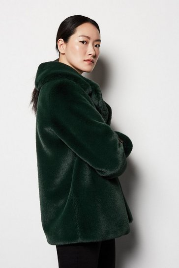 Womens Dark green Faux Fur Jacket