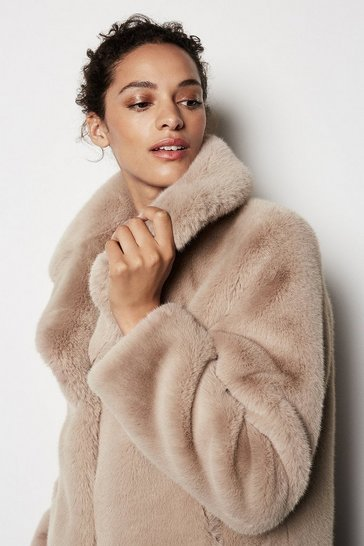 Womens Natural Faux Fur Jacket
