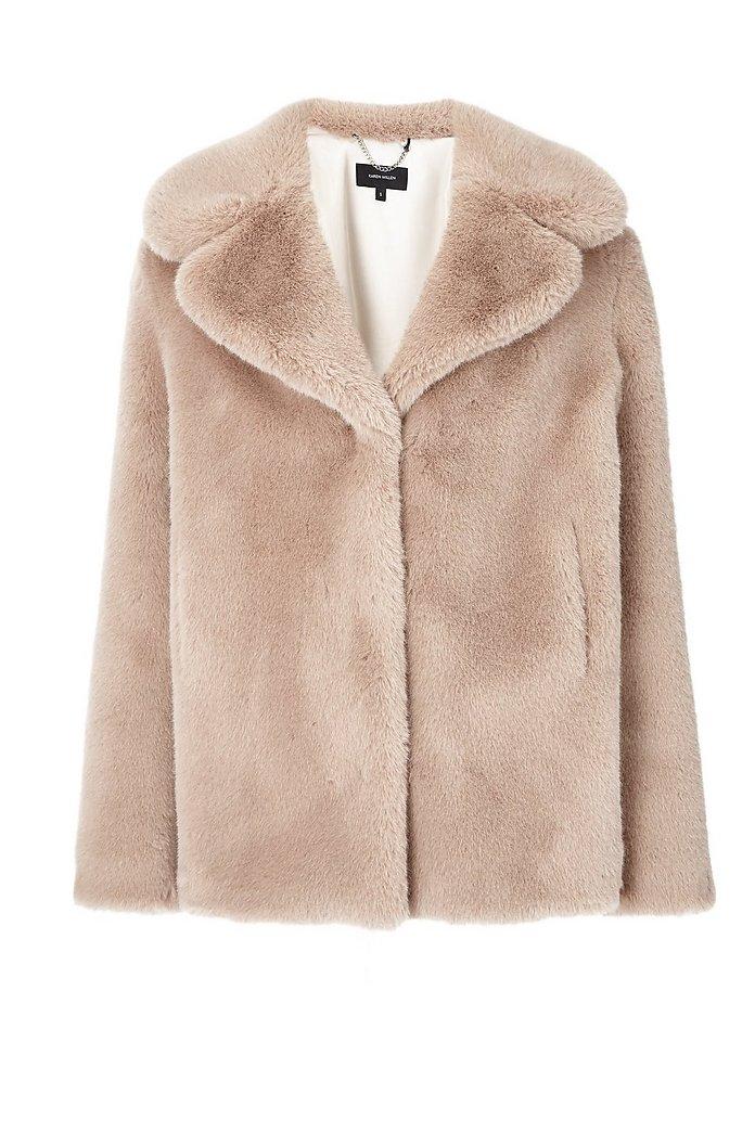 Size 12 cream faux fur jacket
