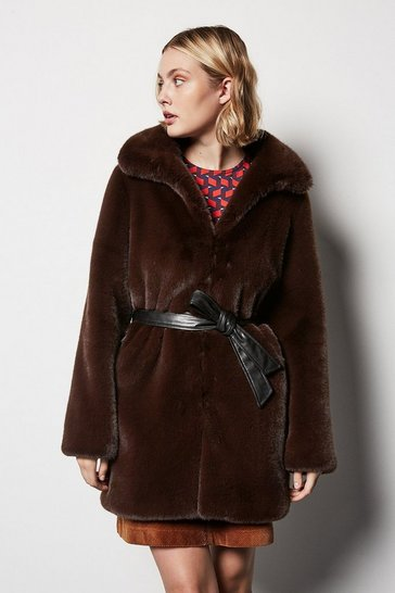 Womens Chocolate Belted Faux Fur Coat