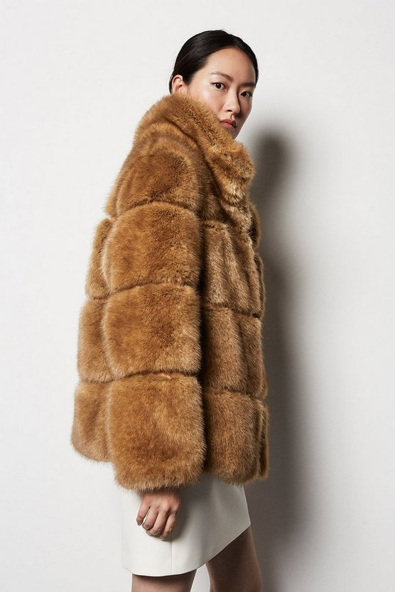 Textured Stripe Faux Fur Jacket Textured Stripe Faux Fur Jacket by Karen Millen