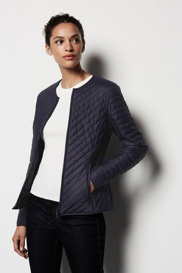 Womens Navy Diagonal Quilt Jacket