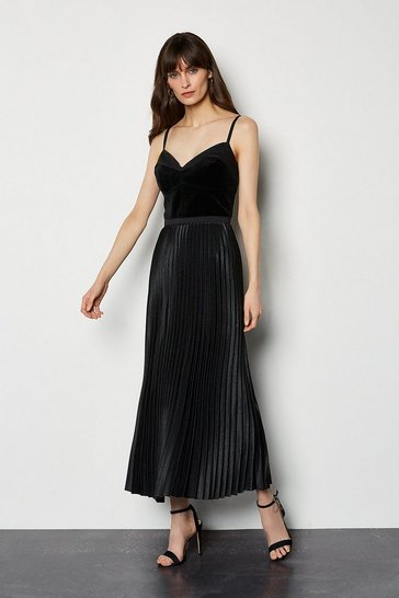 Black Evening Luxe Pleated Dress