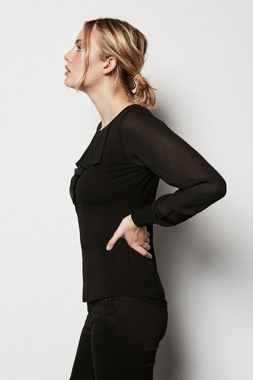 Womens Black Ruffle Jersey Top