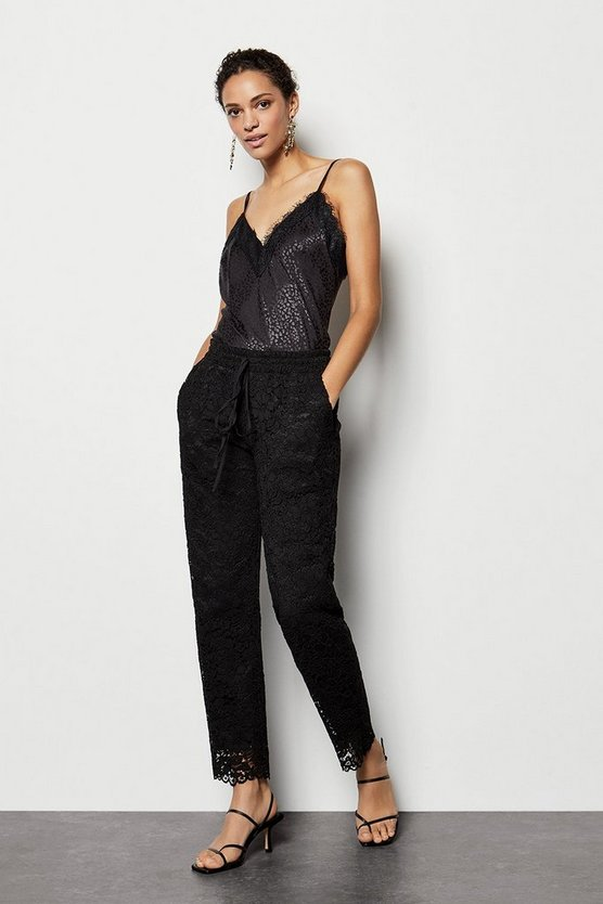 Womens Black Lace Trouser Scallop Hem