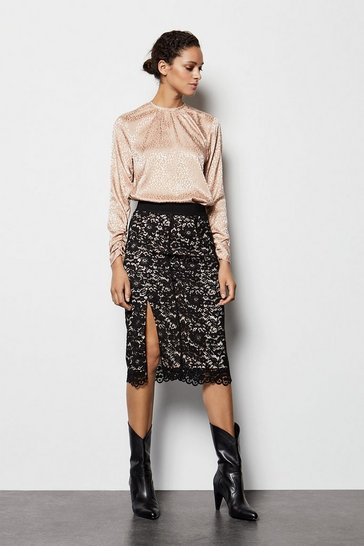 Womens Black Midi Lace Contrast Skirt