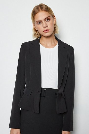 Womens Black Tailored Crop Peplum Blazer