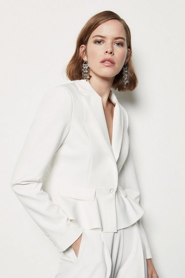 Womens White Tailored Crop Peplum Blazer