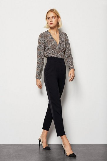 Black Tailored High Waist Slim Leg Trousers