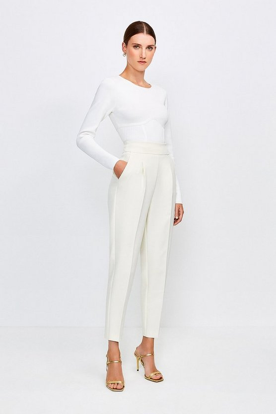 Cream Tailored High Waist Trouser