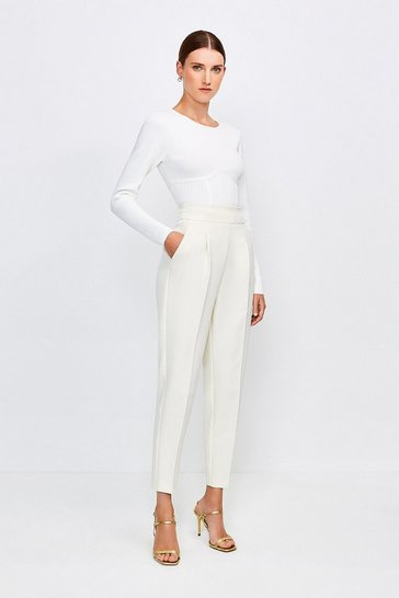 Cream Tailored High Waist Slim Leg Trousers