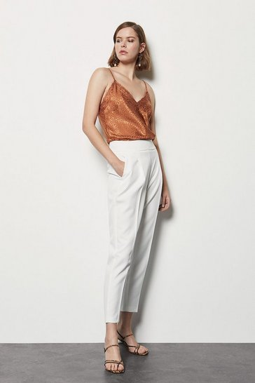 White Tailored High Waist Slim Leg Trousers