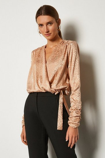 Blush Jacquard Satin Bodysuit