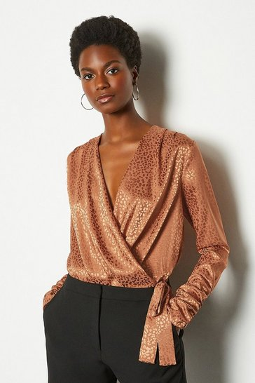 Tan Jacquard Satin Bodysuit