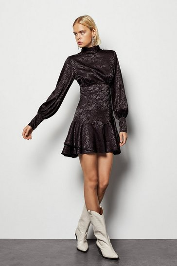 Black High Neck Fit & Flare Long Sleeve Dress