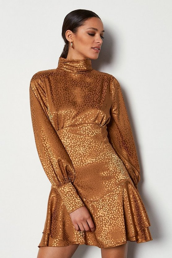Tan High Neck Fit & Flare Long Sleeve Dress